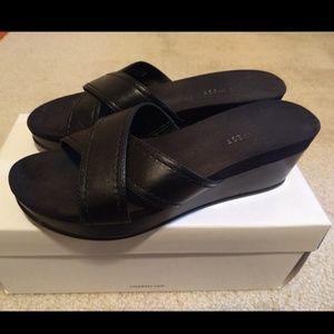 Black Platform Sandals with Leather straps
